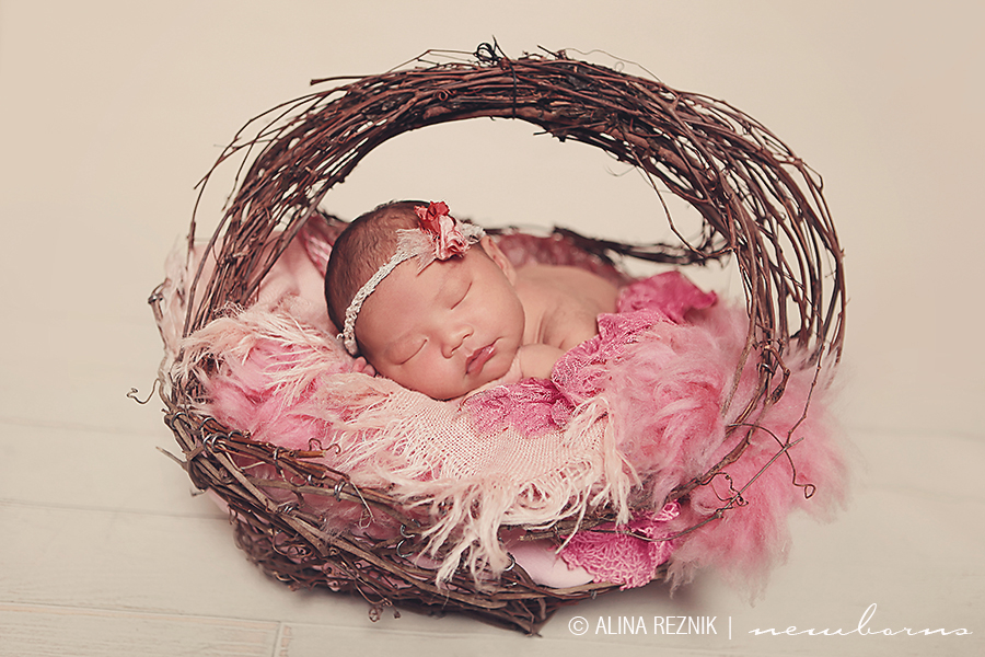 New Jersey newborn photography photoshoot with the baby sleeping inside a hand woven basket