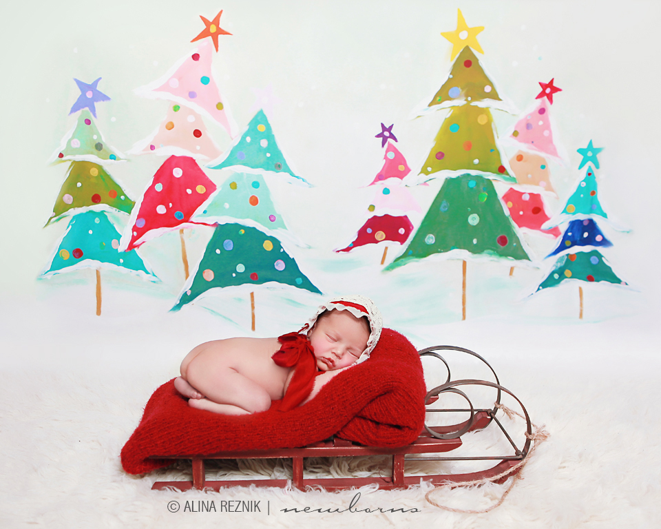 Newborn baby girl is sleeping in wooden sleds in front of a colorful christmas tree background.   Photo captured by Alina Reznik in her New York City newborn photography studio